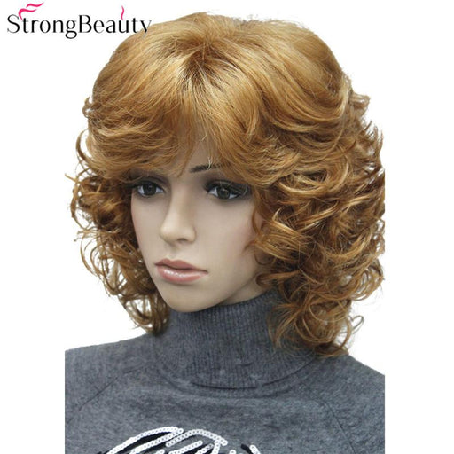 Strong Beauty Medium Short Curly Wigs Synthetic Women 'S Hair Blonde/Black/ Burgundy Many Colors For-kerry ji's store-2-EpicWorldStore.com