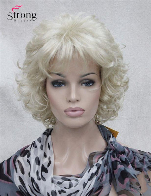 Strongbeauty Short Full Curly Synthetic Hair Wig For Women Platinum Blonde Color-weiwei liu's store-P4/27-EpicWorldStore.com