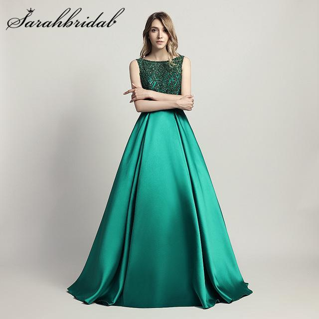 9d30a073064 Stunning Beaded Long Evening Dresses O Neck Illusion Back A Line Satin  Green Vestido Longo Floor