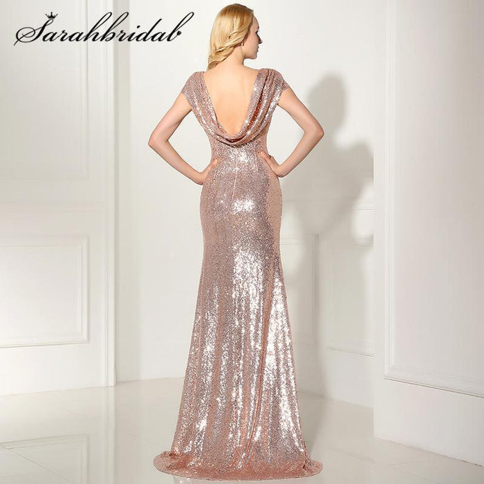 0a50ce94d0 Stylish Backless Rose Gold Sequined Evening Dresses Cap Sleeves Mermaid  Long Cheap Party Gown-Evening