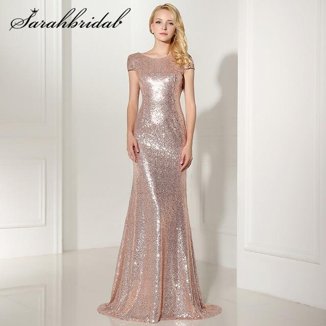 Stylish Backless Rose Gold Sequined Evening Dresses Cap Sleeves ...