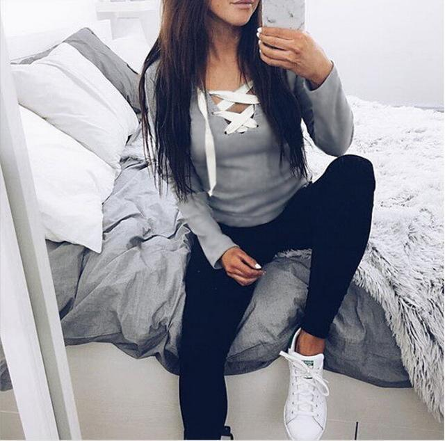 Stylish Casual Kawaii Hoodies Sweatshirts Women Long Sleeve V-Neck Bandage Hoodies-Hoodies & Sweatshirts-iFashion (Hong Kong) Limited-Gray-S-EpicWorldStore.com