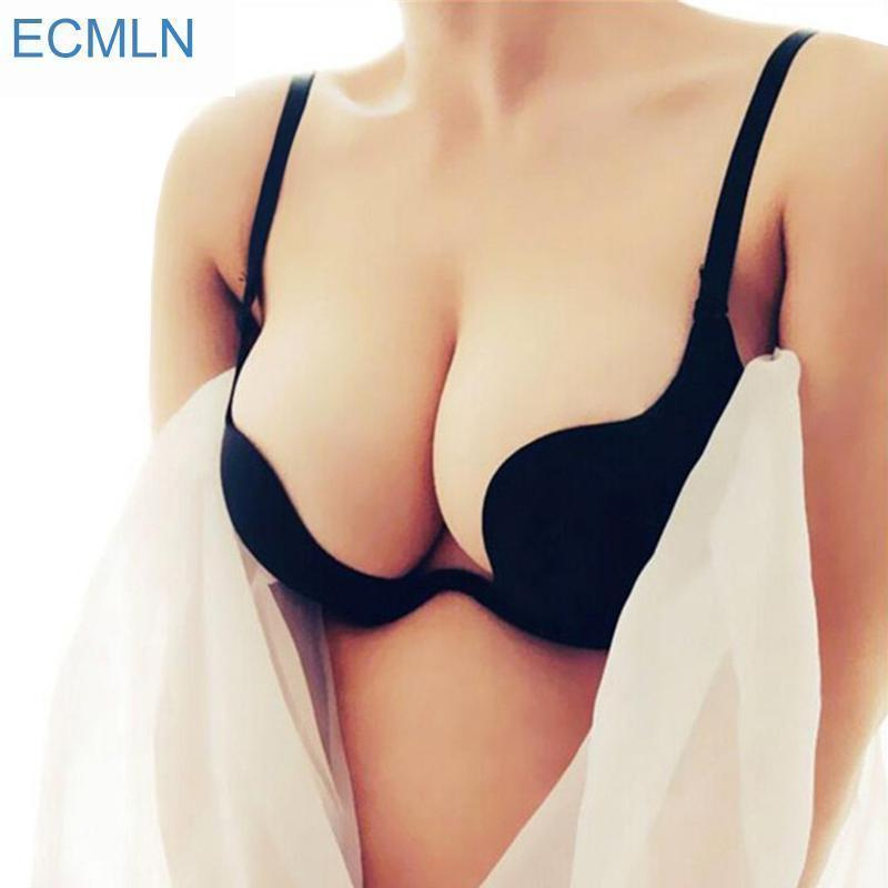 Stylish Deep U Low Cut Ecmln Push Up Women Lingerie U Bra Backless Underwear Plunge Stylish-Bras-Dream Inc.-Black-A-32-EpicWorldStore.com