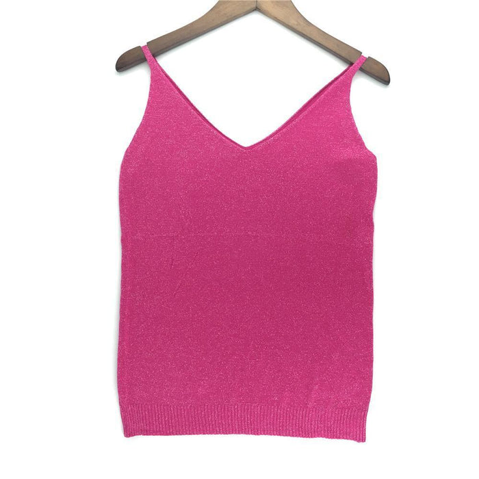 Stylish Knitted Tank Tops Women Gold Thread Top Vest Sequined V Neck Long Tank Tops Blusa Solid-Tops & Tees-Qi Xia Store-01-EpicWorldStore.com