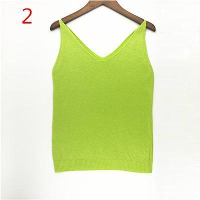 Stylish Knitted Tank Tops Women Gold Thread Top Vest Sequined V Neck Long Tank Tops Blusa Solid-Tops & Tees-Qi Xia Store-02-EpicWorldStore.com