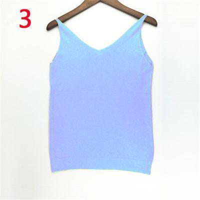 Stylish Knitted Tank Tops Women Gold Thread Top Vest Sequined V Neck Long Tank Tops Blusa Solid-Tops & Tees-Qi Xia Store-03-EpicWorldStore.com