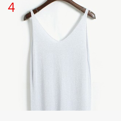 Stylish Knitted Tank Tops Women Gold Thread Top Vest Sequined V Neck Long Tank Tops Blusa Solid-Tops & Tees-Qi Xia Store-04-EpicWorldStore.com