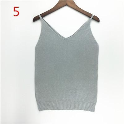 Stylish Knitted Tank Tops Women Gold Thread Top Vest Sequined V Neck Long Tank Tops Blusa Solid-Tops & Tees-Qi Xia Store-05-EpicWorldStore.com