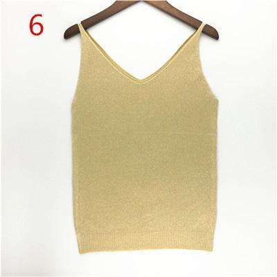 Stylish Knitted Tank Tops Women Gold Thread Top Vest Sequined V Neck Long Tank Tops Blusa Solid-Tops & Tees-Qi Xia Store-06-EpicWorldStore.com