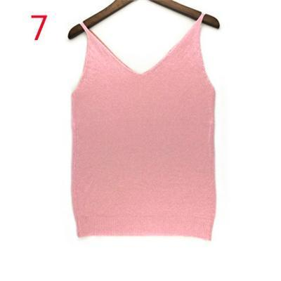 Stylish Knitted Tank Tops Women Gold Thread Top Vest Sequined V Neck Long Tank Tops Blusa Solid-Tops & Tees-Qi Xia Store-07-EpicWorldStore.com