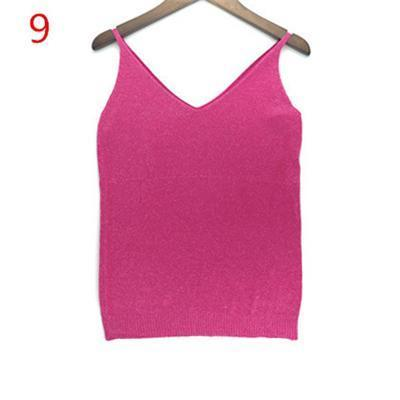 Stylish Knitted Tank Tops Women Gold Thread Top Vest Sequined V Neck Long Tank Tops Blusa Solid-Tops & Tees-Qi Xia Store-09-EpicWorldStore.com