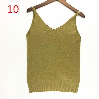 Stylish Knitted Tank Tops Women Gold Thread Top Vest Sequined V Neck Long Tank Tops Blusa Solid-Tops & Tees-Qi Xia Store-10-EpicWorldStore.com