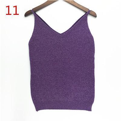 Stylish Knitted Tank Tops Women Gold Thread Top Vest Sequined V Neck Long Tank Tops Blusa Solid-Tops & Tees-Qi Xia Store-11-EpicWorldStore.com