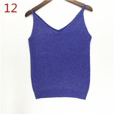 Stylish Knitted Tank Tops Women Gold Thread Top Vest Sequined V Neck Long Tank Tops Blusa Solid-Tops & Tees-Qi Xia Store-12-EpicWorldStore.com