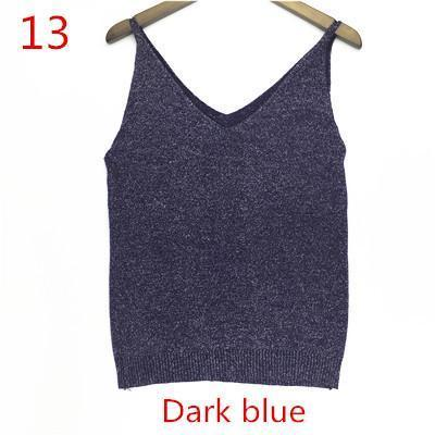 Stylish Knitted Tank Tops Women Gold Thread Top Vest Sequined V Neck Long Tank Tops Blusa Solid-Tops & Tees-Qi Xia Store-13-EpicWorldStore.com