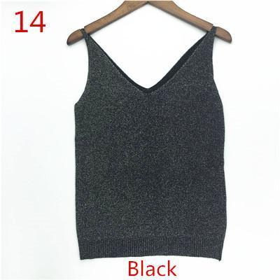 Stylish Knitted Tank Tops Women Gold Thread Top Vest Sequined V Neck Long Tank Tops Blusa Solid-Tops & Tees-Qi Xia Store-14-EpicWorldStore.com