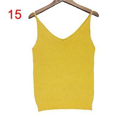 Stylish Knitted Tank Tops Women Gold Thread Top Vest Sequined V Neck Long Tank Tops Blusa Solid-Tops & Tees-Qi Xia Store-15-EpicWorldStore.com