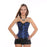 Stylish Satin Floral Gothic Lace Up Boned Overbust Corset Bustier Waist Trainer Plus Size S-2Xl With-Bustiers & Corsets-The best corset-blue-S-EpicWorldStore.com