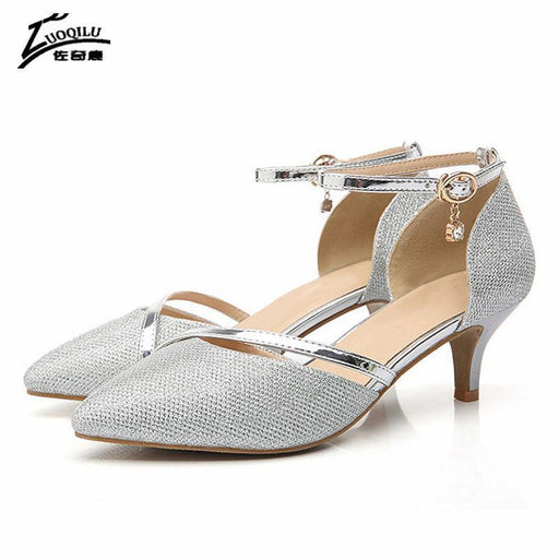 Stylish Shoes Woman High Heels Gold Silver Pumps High Heel Women Shoes Rhinestones Wedding-Women's Pumps-Trendsetter Store-silver-3.5-EpicWorldStore.com