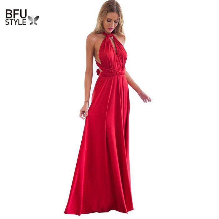 Stylish Women Boho Maxi Club Dress Red Bandage Long Dress Party Multiway Bridesmaids Convertible-Dresses-Eastdragon Apparel Store-color 1-S-EpicWorldStore.com