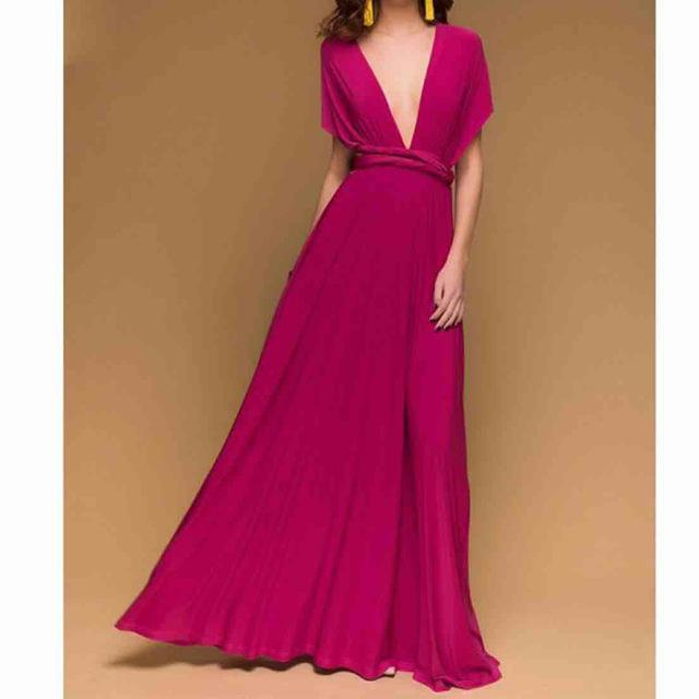 Stylish Women Boho Maxi Club Dress Red Bandage Long Dress Party Multiway Bridesmaids Convertible-Dresses-Eastdragon Apparel Store-color 18-S-EpicWorldStore.com