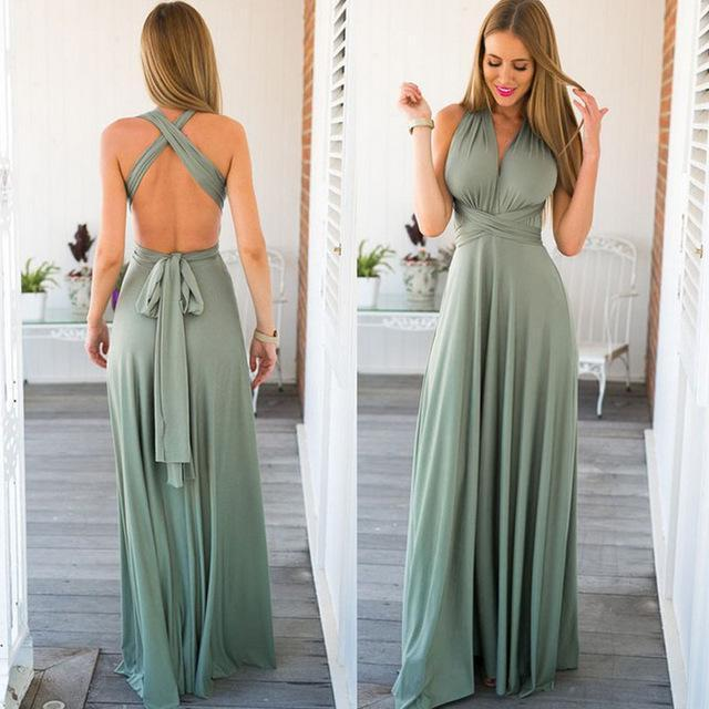 Stylish Women Boho Maxi Club Dress Red Bandage Long Dress Party Multiway Bridesmaids Convertible-Dresses-Eastdragon Apparel Store-color 9-S-EpicWorldStore.com