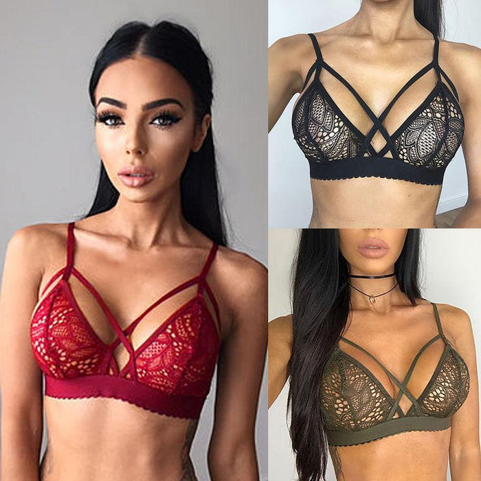 Stylish Women Floral Lace Bralette Bra Bustier Crop Top Sheer Soft Mesh Triangle Unpadded Bra-Bras-Shop1230303 Store-Black-S-EpicWorldStore.com