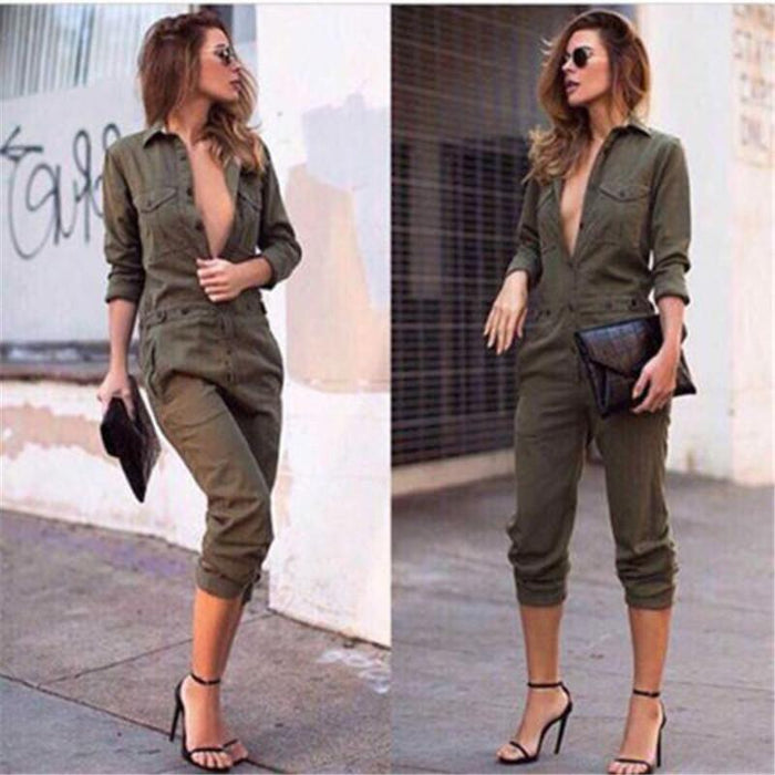 Stylish Women New Slim Bodycon Jumpsuit Long Sleeve Army Green Solid