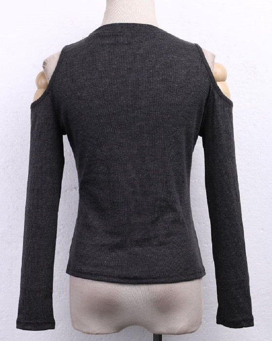 Stylish Women Off Shoulder Long Sleeve Knitted Sweater Solid Skinny Slim Sweater-Sweaters-Hebe Gomez's store-Black-S-EpicWorldStore.com