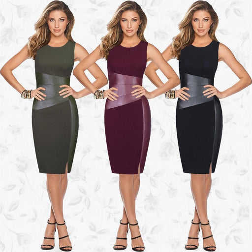 Stylish Women Sleeveless Patchwork Pu Leather Dress Wine Red Black Army Green Low Cut Bodycon-Dresses-Woman's wardrobe No. 1-Black-S-EpicWorldStore.com