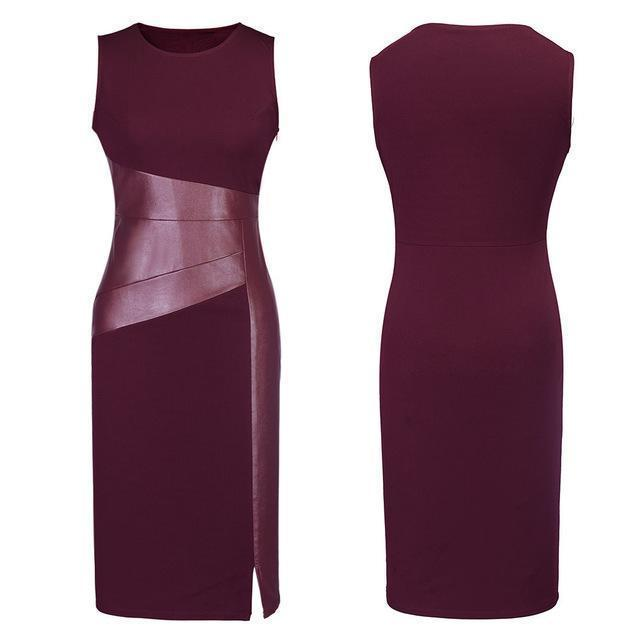 Stylish Women Sleeveless Patchwork Pu Leather Dress Wine Red Black Army Green Low Cut Bodycon-Dresses-Woman's wardrobe No. 1-Burgundy-S-EpicWorldStore.com
