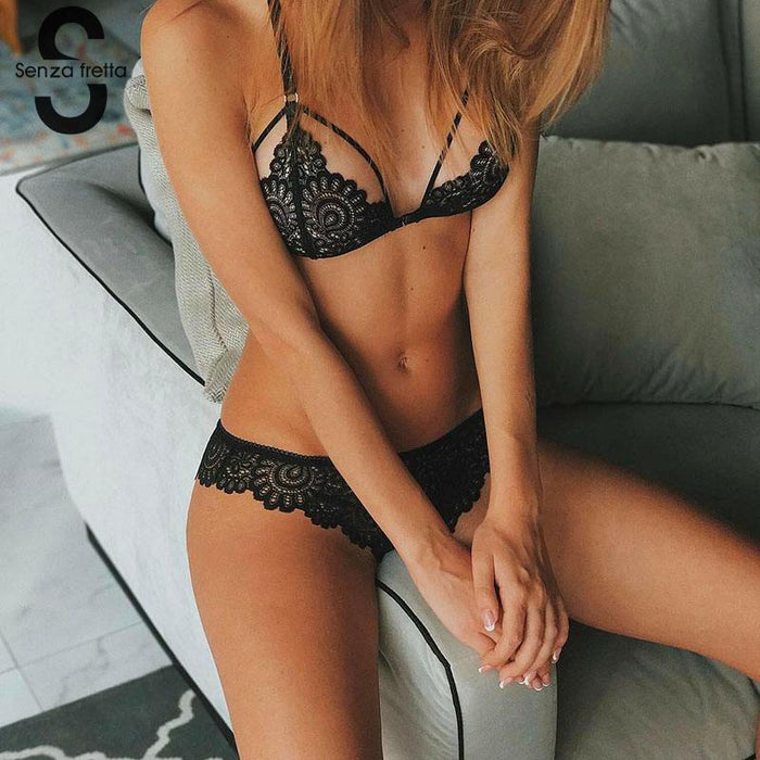 Stylish Women Transparent Lace Bra Set Deep V Lingerie Ultra-Thin Bra Boxers Set Unlined Women-Bra & Brief Sets-yinyuan cloting Store-Black-S-EpicWorldStore.com