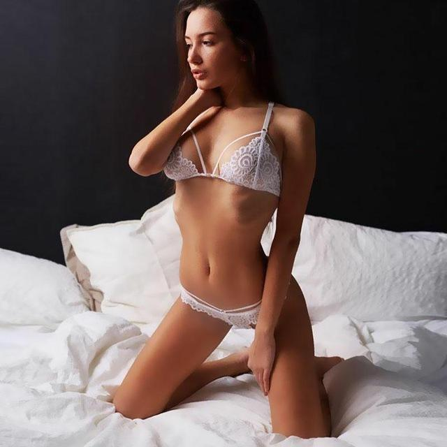 Stylish Women Transparent Lace Bra Set Deep V Lingerie Ultra-Thin Bra Boxers Set Unlined Women-Bra & Brief Sets-yinyuan cloting Store-White-S-EpicWorldStore.com