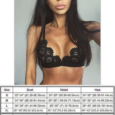 Stylish Womens Lace Floral Bralette Bralet Bra Bustier Crop Top Unpadded Bra Top-Camisoles & Tanks-2017 Women Clothes Store-Black-S-EpicWorldStore.com