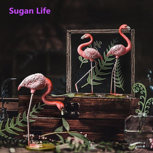 Sugan Life Pink Flamingo Cute Animal Shape Resin Ornament Home Garden Decoration Living Room-Garden Statues & Sculptures-Beautiful YM Store-a-EpicWorldStore.com