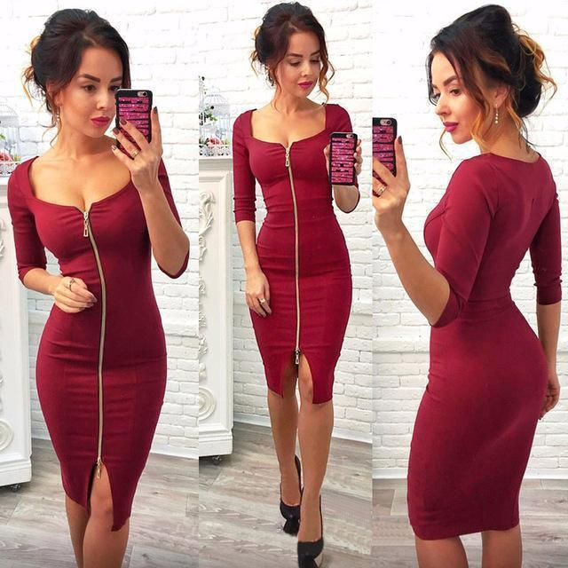 Summer Dresses Women Casual Knitting Bodycon Stylish Club Dress Spring Blue Red Black-Dresses-COMMIX Store-Red-S-EpicWorldStore.com