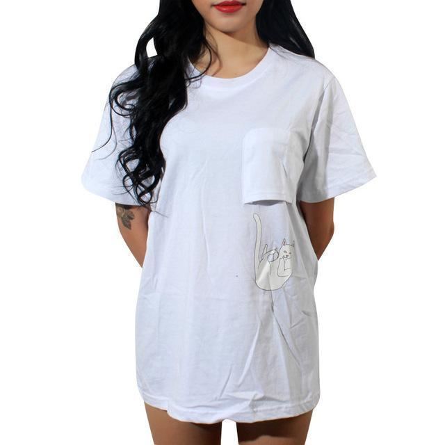 Summer T-Shirt Women Casual Lady Top Tees Cotton Tshirt Female Brand Clothing T Shirt Printed-Tops & Tees-JUNYQ Official Store-luo mao bai 1-XS-EpicWorldStore.com