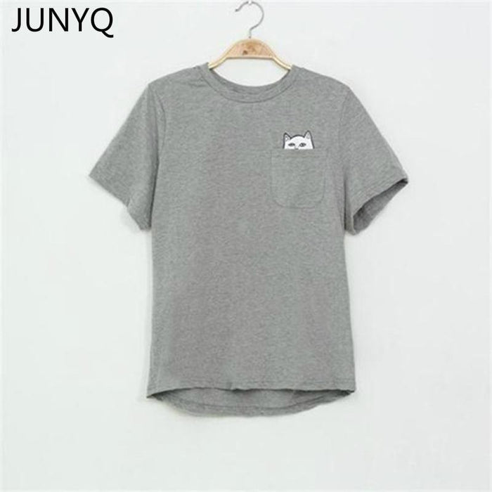 Summer T-Shirt Women Casual Lady Top Tees Cotton Tshirt Female Brand Clothing T Shirt Printed-Tops & Tees-JUNYQ Official Store-mao hei 2-XS-EpicWorldStore.com