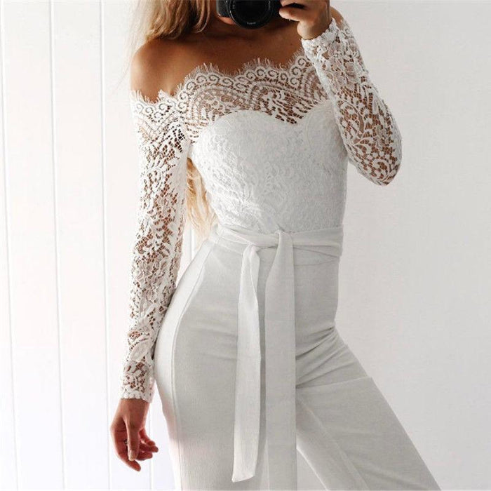 6b0bc77f8ce4 Super Spring Summer Jumpsuits Women High Quality Lace Patchwork Embroidery  Stylish Party-Jumpsuits-Women