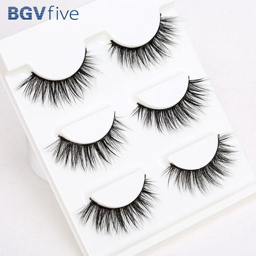 Support Wholesale&Single Sell 3 Pair 3D Natural Bushy Makeup Cross False  Eyelashes Eye Lashes Black