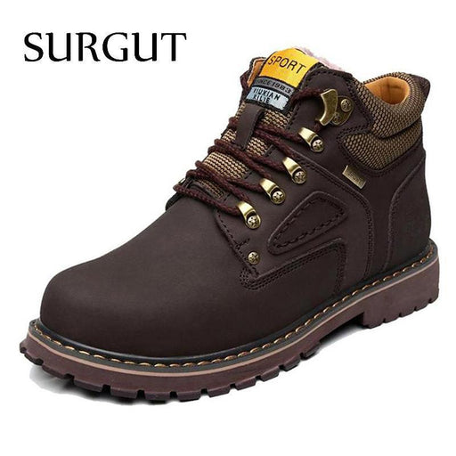 Surgut Brand Super Warm Mens Winter Leather Men Waterproof Rubber Snow Boots Leisure Boots-Shoe Accessories-SURGUT Official Store-Fluff Dark Brown-7-EpicWorldStore.com