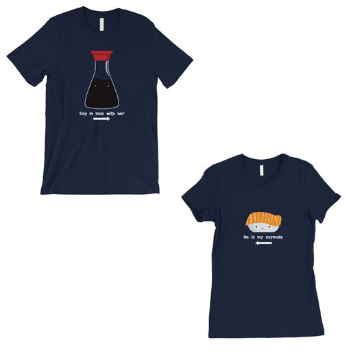 Sushi & Soy Sauce Matching Couple Gift Shirts Navy Valentine'S Day-Apparel & Accessories-365 Printing-Navy-Medium-XX-Large-EpicWorldStore.com