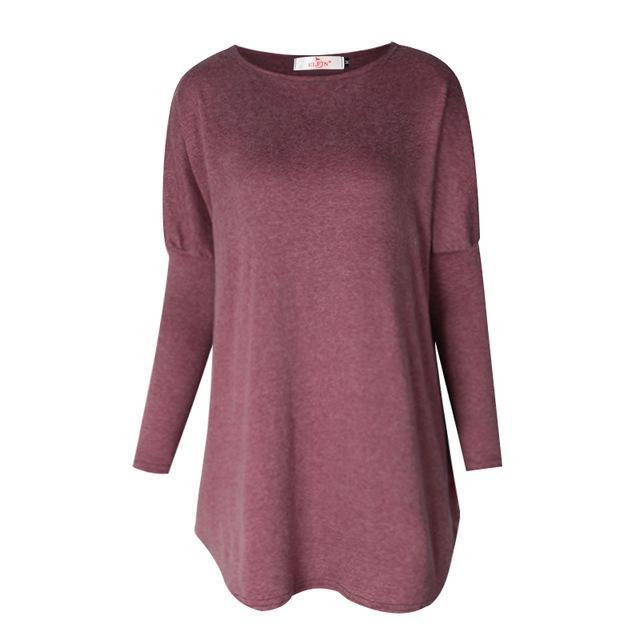 Sweater Tops Women Autumn Winter Long Sleeve Plus Size Pullovers Elegant Women Loose Female-Sweaters-Tiffanyfashion Store-Burgundy-S-EpicWorldStore.com