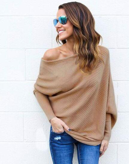 Sweater Women New Spring/Autumn/Winter Stylish Dew Shoulder Long Batwing Sleeve-Sweaters-QXSLZQ Apparel Store-khaki-S-EpicWorldStore.com