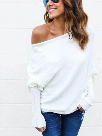 Sweater Women New Spring/Autumn/Winter Stylish Dew Shoulder Long Batwing Sleeve-Sweaters-QXSLZQ Apparel Store-White-S-EpicWorldStore.com