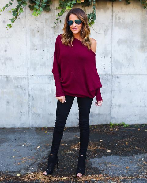 Sweater Women New Spring/Autumn/Winter Stylish Dew Shoulder Long Batwing Sleeve-Sweaters-QXSLZQ Apparel Store-wine red-S-EpicWorldStore.com