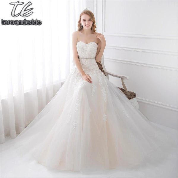 Sweetheart Light Champagne Lace Applique Wedding Dress With Color ...