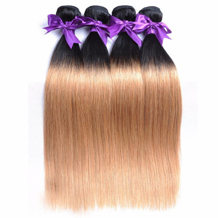 T1b 27 Honey Blonde Ombre 3 Brazilian Straight Hair Bundles With Closure Human Hair Weave With Closure Shiningstar Non Remy Hair Human Hair Weaves