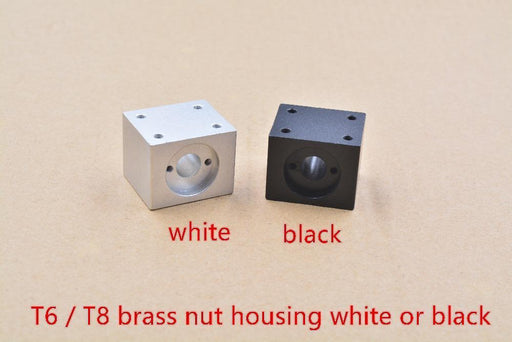 T8 Trapezoidal Screw Nut Housing White Or Black Mounting Bracket Aluminum For T8 Screw Brass Nut-Office Electronics-linkcnc Store-white-EpicWorldStore.com