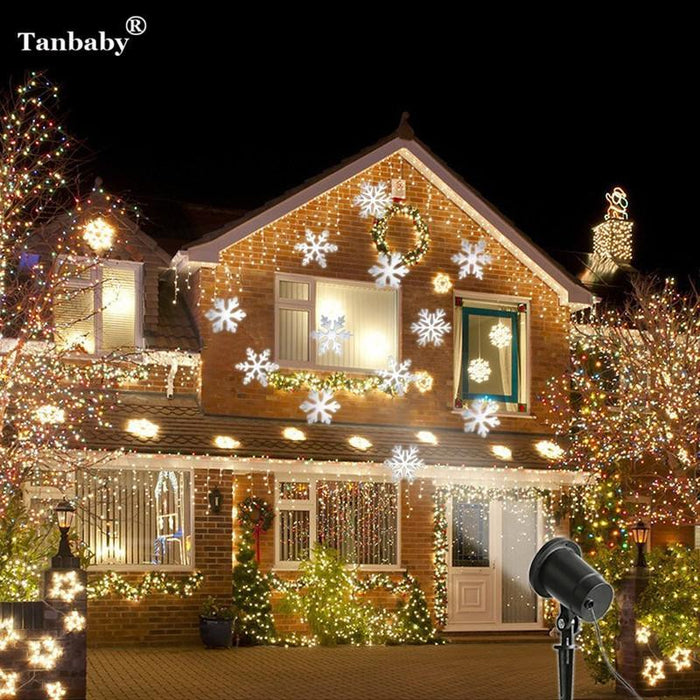 Christmas Projector.Tanbaby Laser Projector Waterproof Moving Snow Snowflake Laser Spotlight Christmas New Year Led